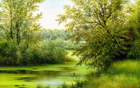 bird, river, trees, pond, painting