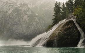 water, stone, nature, waterfall, trees