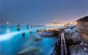 город, ночь, туман, берег, вода