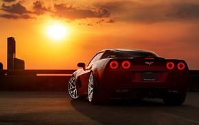 sunset, Corvette, car