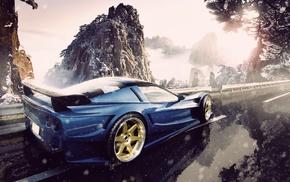дорога, снег, машина, синие машины, горы