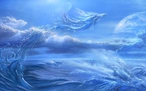 kazamasa uchio, фэнтези, арт, море, планета, картина