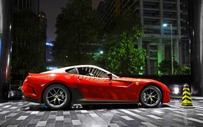 Ferrari, sportcar, red, city, cars