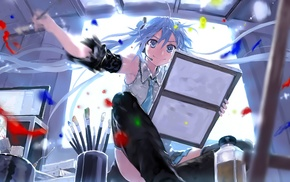 painting, Hatsune Miku, Vocaloid, anime girls, thigh, highs