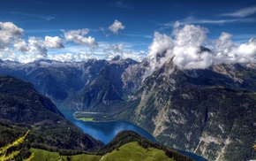 mountain, lake, clouds, river, nature