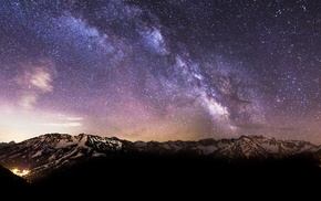 landscape, mountain, stars