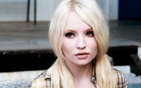 model, Emily Browning, face, long hair, platinum blonde, blonde