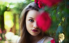 depth of field, flowers, face, blue eyes, girl outdoors, girl