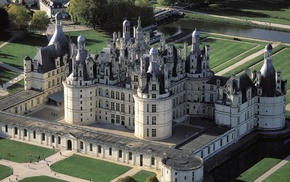 Франция, замок, зелень, здания, красота, мост