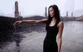 мокро, мокрые волосы, девушки на открытом воздухе, девушка, дождь