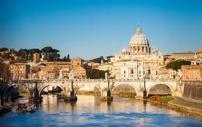 river, sky, bridge, cities, Italy