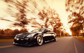 speed, trees, cars, autumn, black