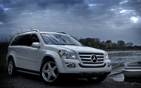 Mercedes-Benz, white, sky, boat, cars