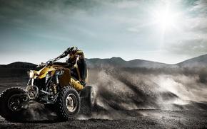 motorcycles, sand, desert, Sun, sky