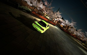 rear view, trees, cars