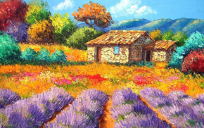 landscape, nature, painting, painting, house