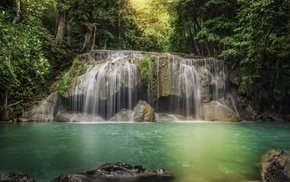 nature, jungle, light, water, waterfall