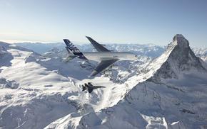 Airbus, горы, природа, Альпы, авиация, истребитель