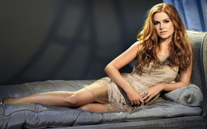 couch, red hair, girls, actress