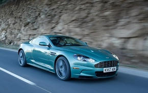Aston Martin, cars, turquoise, road