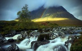 mountain, nature, tree, river, rainbow