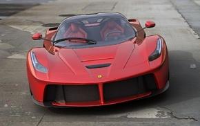 Ferrari, sportcar, red, headlights, road