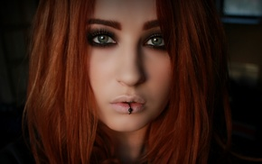 Niky Von Macabre, piercing, lip ring, redhead, face, girl