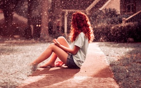 redhead, photo manipulation, girl, sitting, pavements