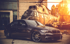 helicopter, BMW, sunset, cars, background