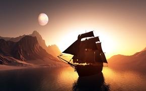 sailfish, 3D, planet, ship, mountain