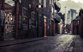 cobblestone, street, city