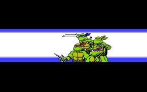 IDW, Teenage Mutant Ninja Turtles, ninjas, comic art, Nintendo, pixel art
