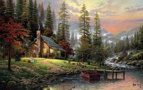 chimneys, stream, pier, forest, trees, painting