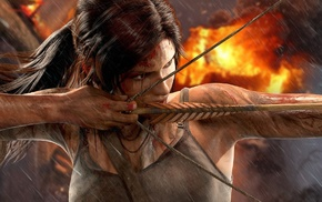 blood, arrows, Lara Croft