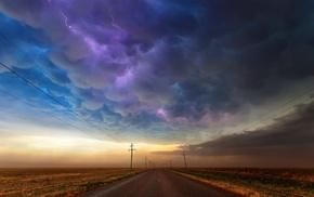 дорога, облака, молния, пейзаж