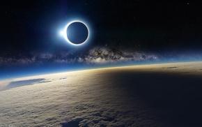 solar eclipse, landscape, clouds, planet, eclipse, space