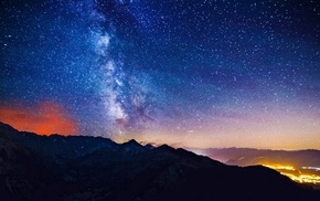 небо, природа, горы, звезды