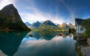 lake, cabin