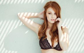 girl, boobs, red hair, white background, girls