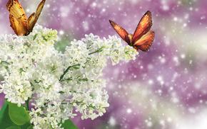 бабочки, фотошоп, природа, фэнтези, сирень, весна