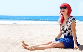 юбка, пляж, очки, улыбка